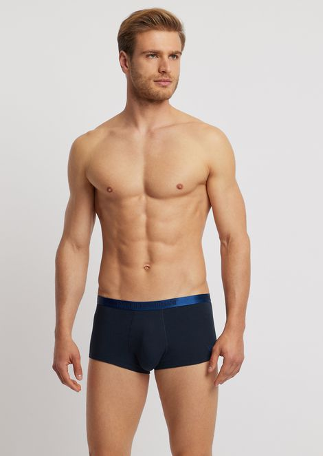 Stretch cotton boxer trunks with gloss-effect branded elastic waistband