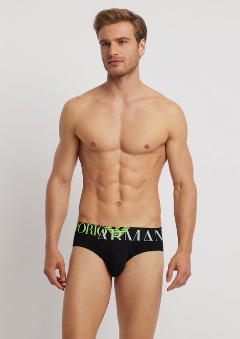 Stretch cotton briefs with elasticated logo maxi waistband