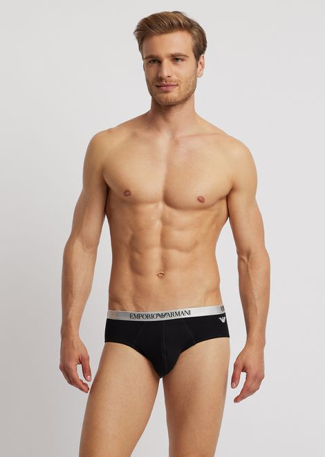 Stretch cotton briefs with gloss-effect, elasticated logo waistband