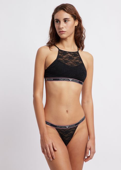 Lace thong with logo band trims