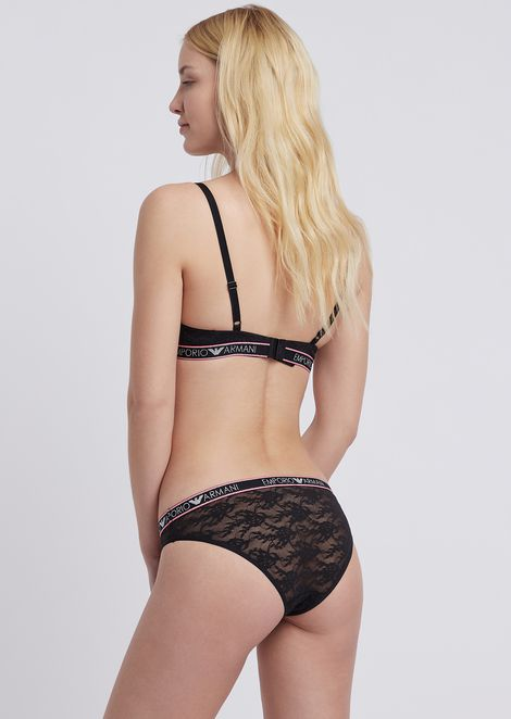 Lace briefs with logo band trims