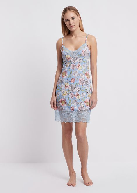 Fabric camisole with floral pattern and lace trim