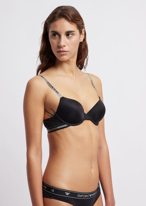 Padded bra with logo trim