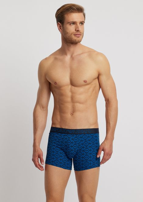 Medium-sized jersey boxers with logo pattern and elasticated logo waistband