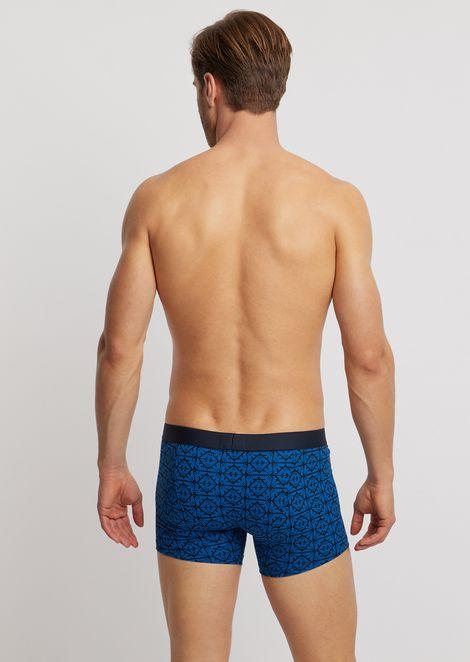Medium-sized jersey boxers with logo pattern and elasticated logo waistband
