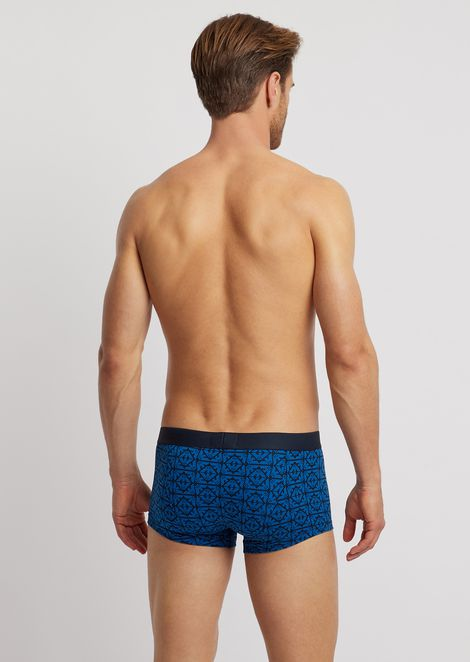 Jersey boxers with logo pattern and elasticated logo waistband