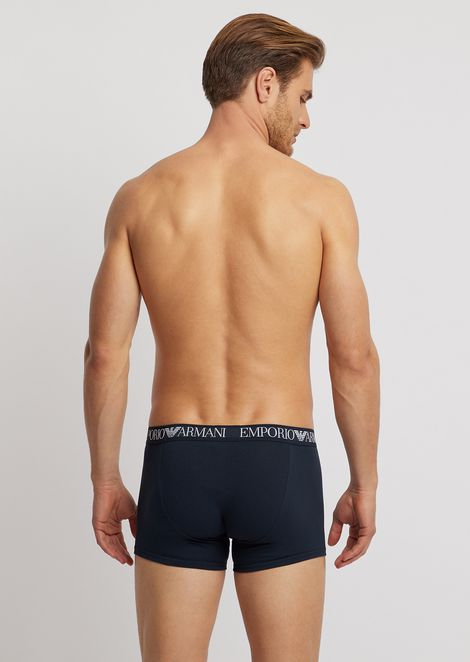 Pack of 2 stretch cotton boxers with elasticated logo waistband