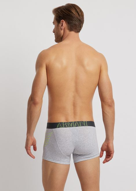 Stretch cotton boxer trunks with logo print and waistband logo