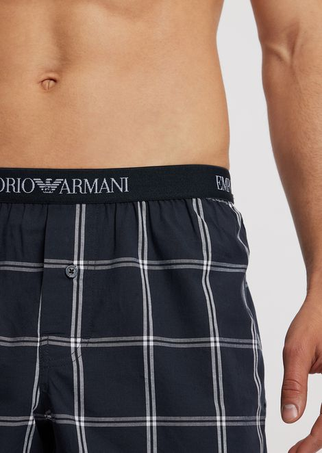 Cotton boxers with elasticated logo waistband