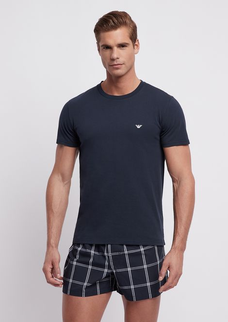 Pyjamas with jersey T-shirt and cotton shorts