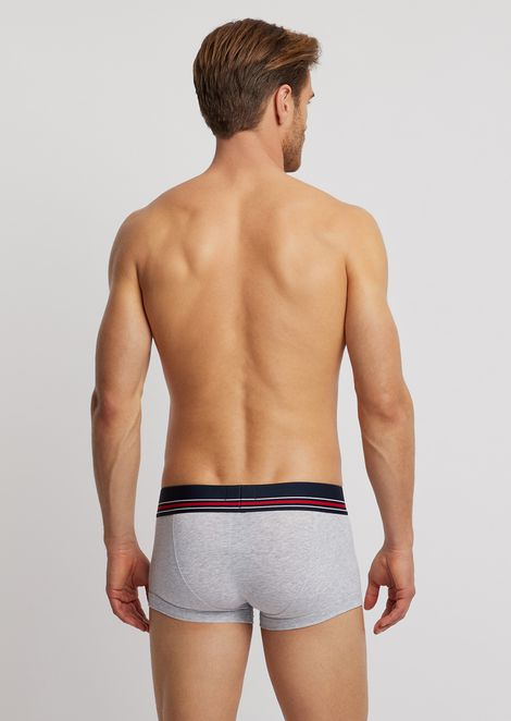 Cotton boxers with striped, elasticated logo waistband
