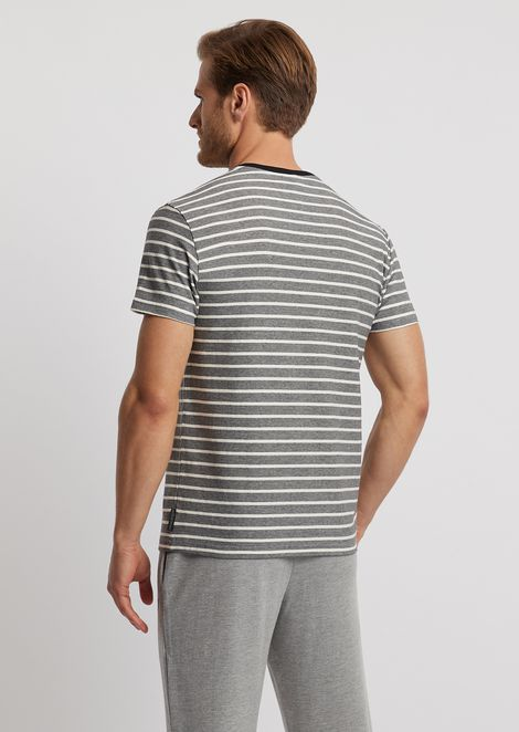 Loungewear T-shirt in striped cotton jersey