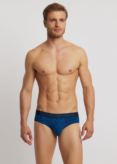 Jersey briefs with logo pattern and elasticated logo waistband