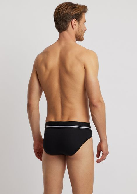 Cotton briefs with striped, elasticated logo waistband