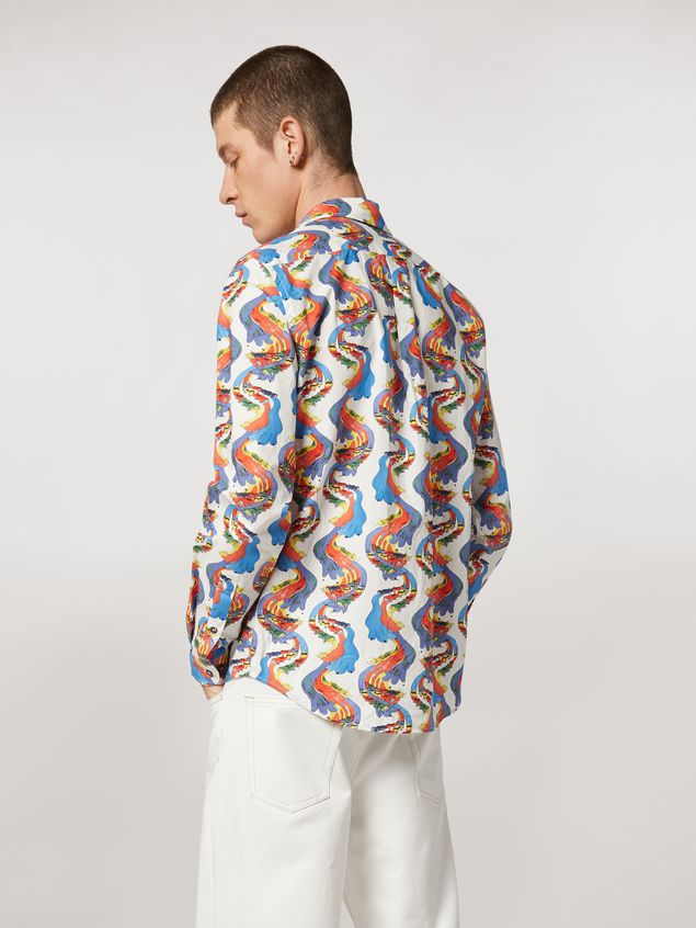 Marni Cotton shirt with Firebird print by Bruno Bozzetto Man