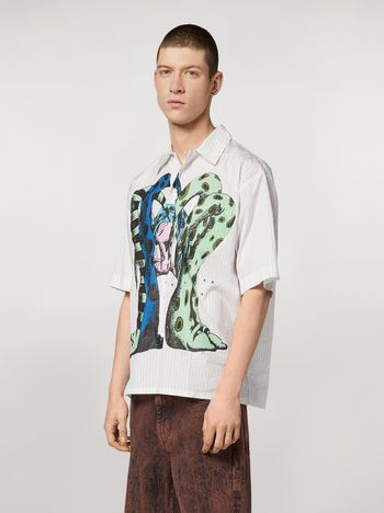 Marni Striped yarn dyed poplin shirt with print by Bruno Bozzetto Man