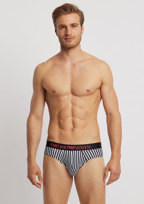 Animalia pattern jersey briefs with elasticated logo waistband