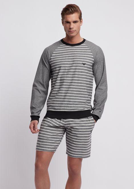 Loungewear crew-neck sweatshirt with striped fabric