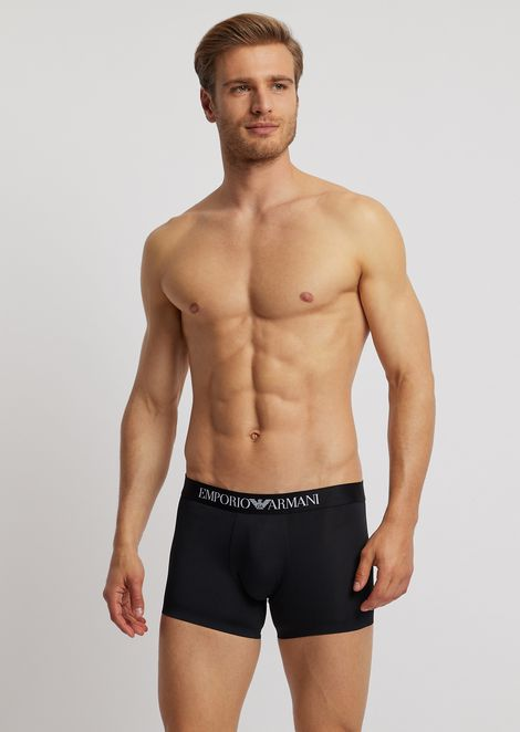 Microfiber boxers with logoed elastic