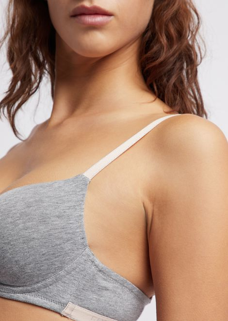 Stretch fabric bra with molded cups and logo bands