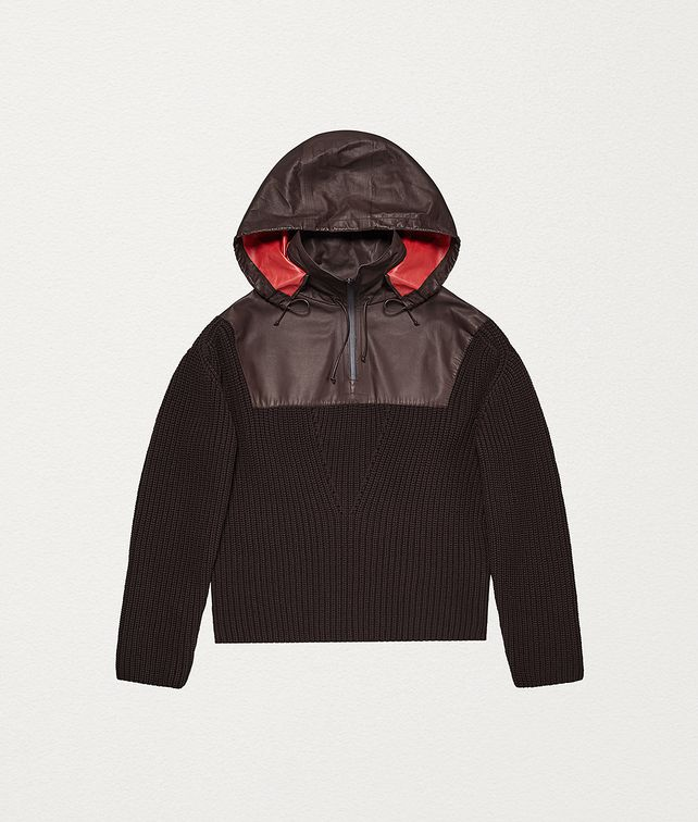 BOTTEGA VENETA ANORAK IN WOOL AND HIDROLOGY CALFSKIN Knitwear [*** pickupInStoreShipping_info ***] fp