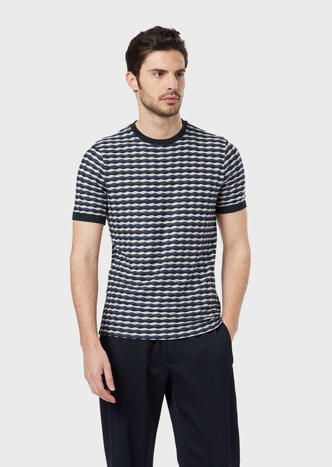 T-shirt in horizontal wave fabric