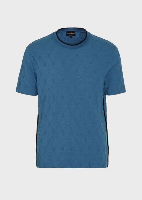 T-shirt in jacquard jersey with matching chenille details