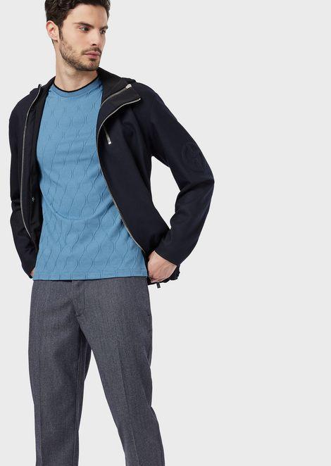 Camiseta de punto jacquard a tono con detalles de chenilla