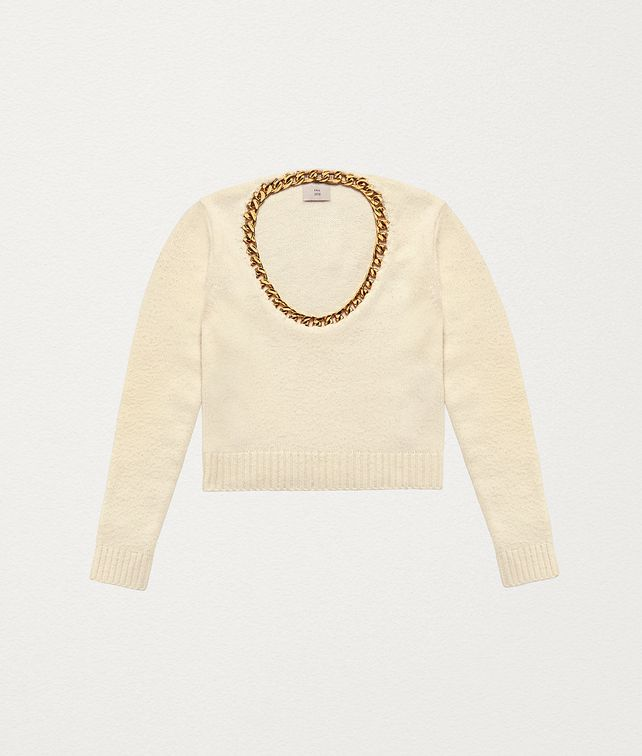 BOTTEGA VENETA SWEATER IN WOOL AND STERLING SILVER Knitwear Woman fp