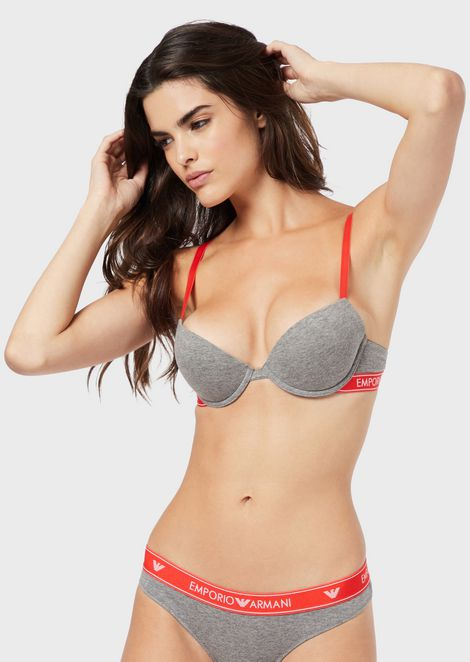 Push-up bra with logo band