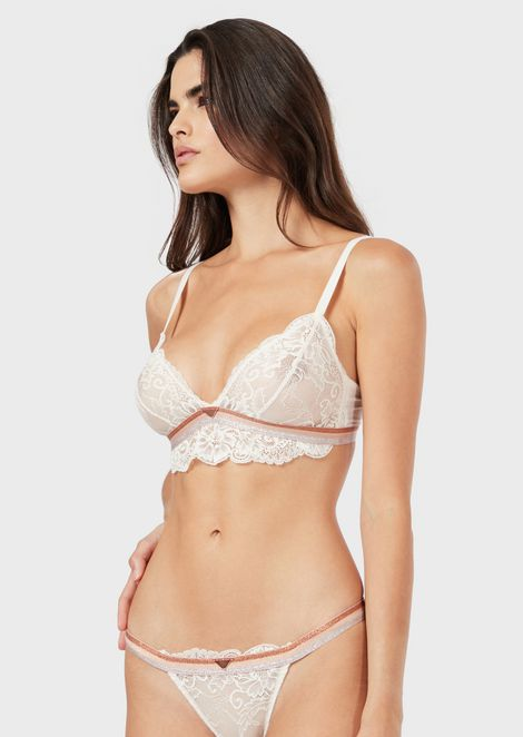 Lace bralette with lurex band