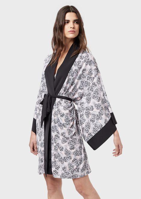 Butterfly-print kimono robe