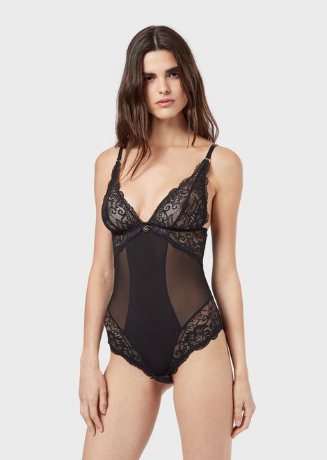 Lace bodysuit with triangular top