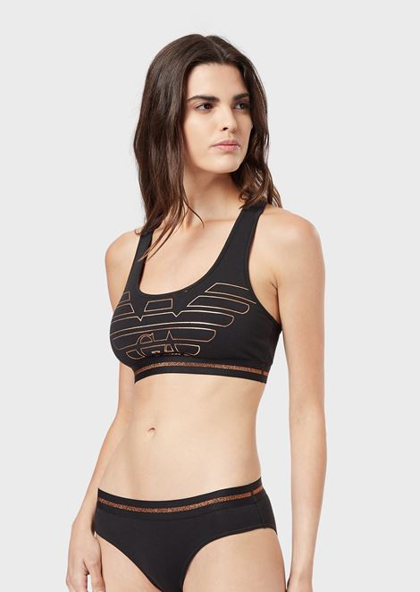 Cotton bralette with maxi-eagle