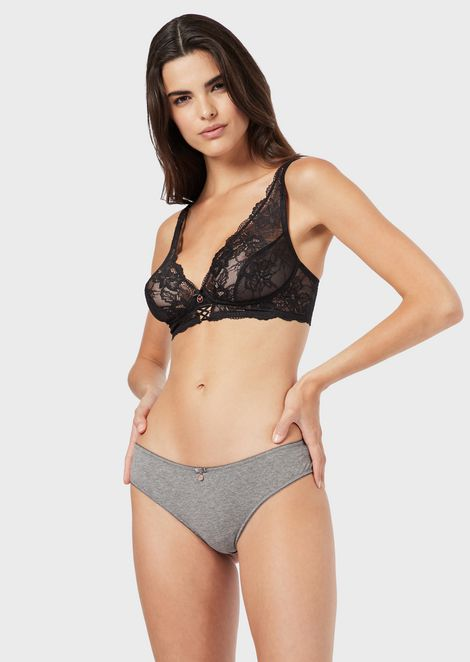 Cotton Brazilian briefs with lace trim