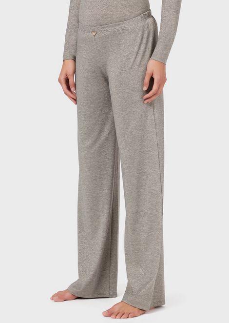 Loungewear trousers in metallic fabric
