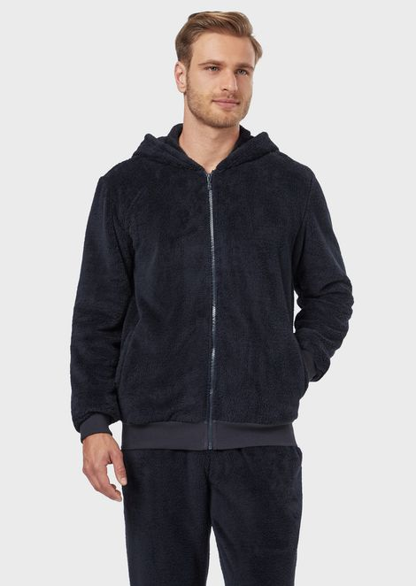 Plush-effect sweatshirt with zip and hood