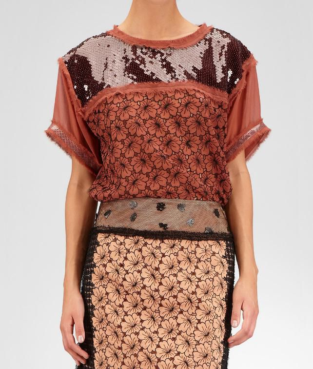 BOTTEGA VENETA Silk Ayers Sequin Perforated Flower Top Sweater and top D fp
