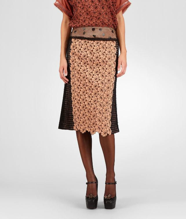BOTTEGA VENETA Silk Embroidered Perforated Flower Skirt Skirt or pant D fp
