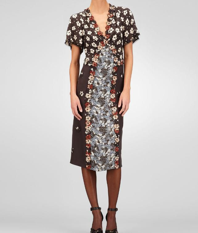 BOTTEGA VENETA Silk Embroidered Marguerite Print Dress Dress D fp