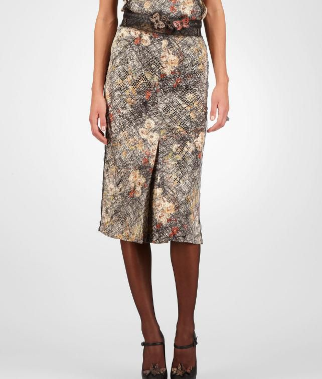 BOTTEGA VENETA Silk Embroidered Studded Scribble Floral Print Skirt Skirt or pant D fp