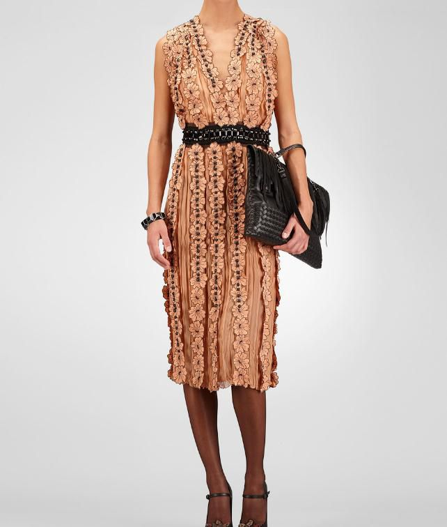 BOTTEGA VENETA Light Silk Studded Embroidered Flower Dress Dress D fp