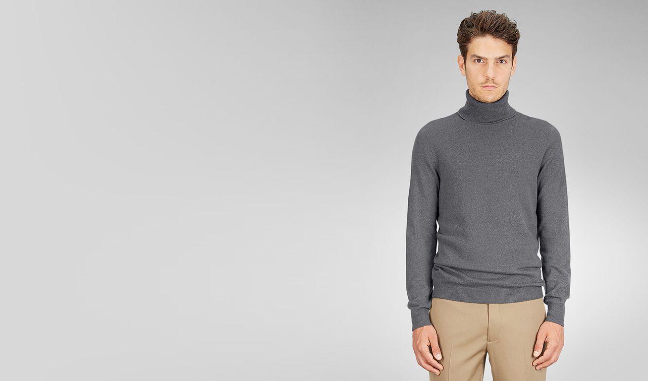 BOTTEGA VENETA Knitwear U Ardoise Melange Soft Cashmere Turtleneck pl