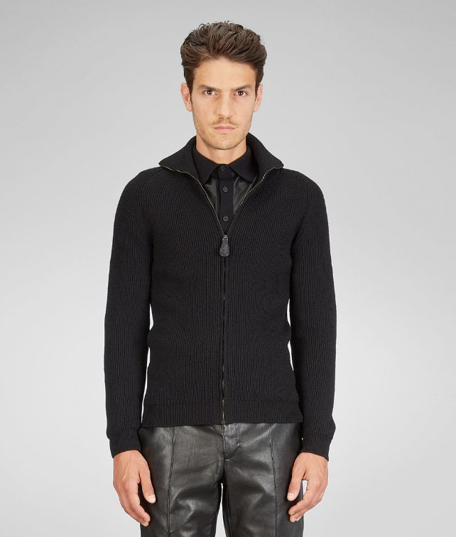 BOTTEGA VENETA Nero Merinos Wool Washed Fine Nappa Cardigan Knitwear U fp