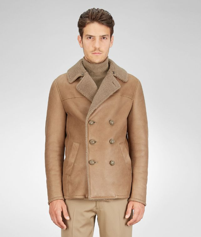 BOTTEGA VENETA Caban Bronze in Felted Shearling Cappotto o Giacca U fp
