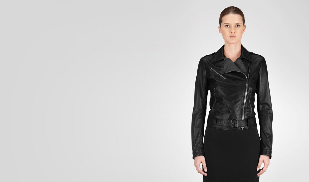 BOTTEGA VENETA Coat or Jacket D JACKET IN NERO LAMBLEATHER pl