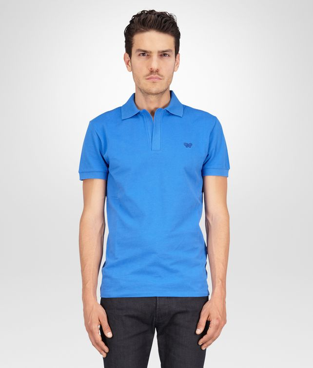 BOTTEGA VENETA POLO SIGNAL BLUE IN PIQUET  Polo & T-Shirt U fp