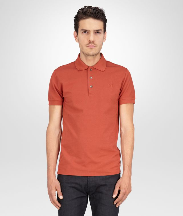 BOTTEGA VENETA Burnt Red Solid Piquet Polo Polo And Tee U fp