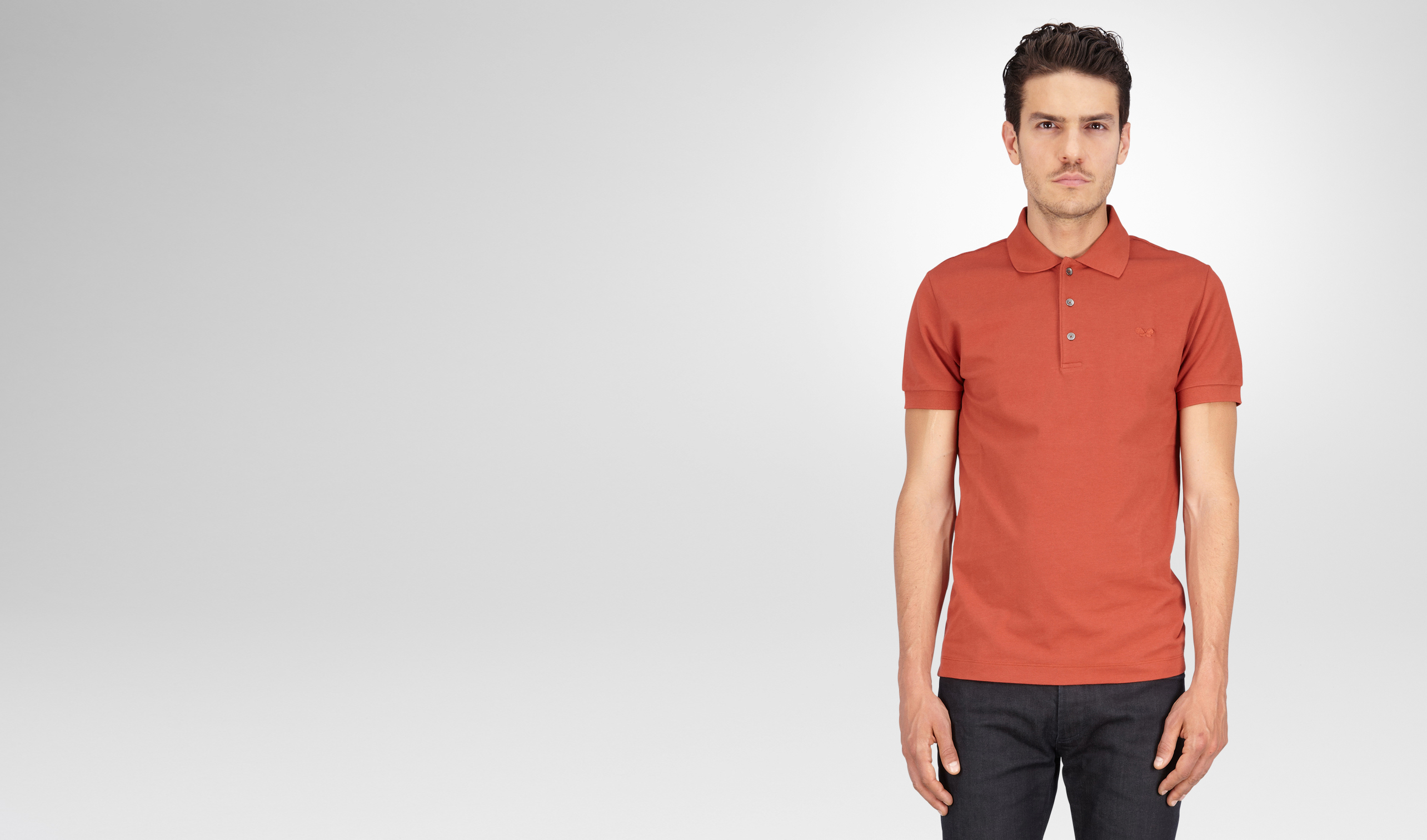 BOTTEGA VENETA Polo And Tee U Burnt Red Solid Piquet Polo pl