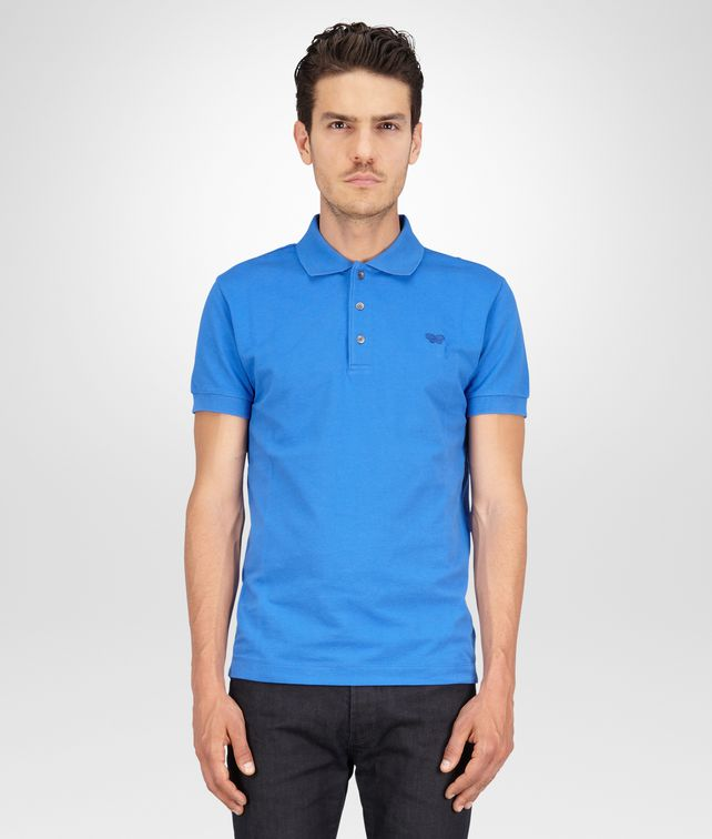 BOTTEGA VENETA Signal Blue Solid Piquet Polo Polo And Tee U fp